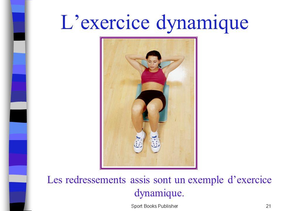 Sport Books Publisher21 Lexercice dynamique Les redressements assis sont un exemple dexercice dynamique.