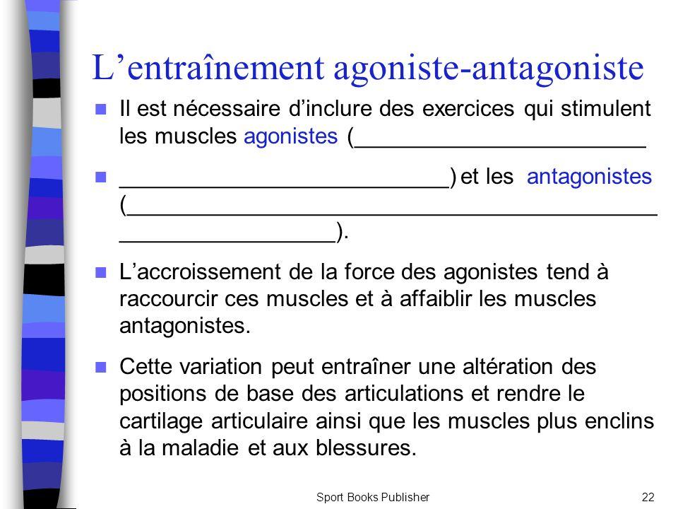 Sport Books Publisher22 Lentraînement agoniste-antagoniste Il est nécessaire dinclure des exercices qui stimulent les muscles agonistes (_______________________ __________________________) et les antagonistes (__________________________________________ _________________).