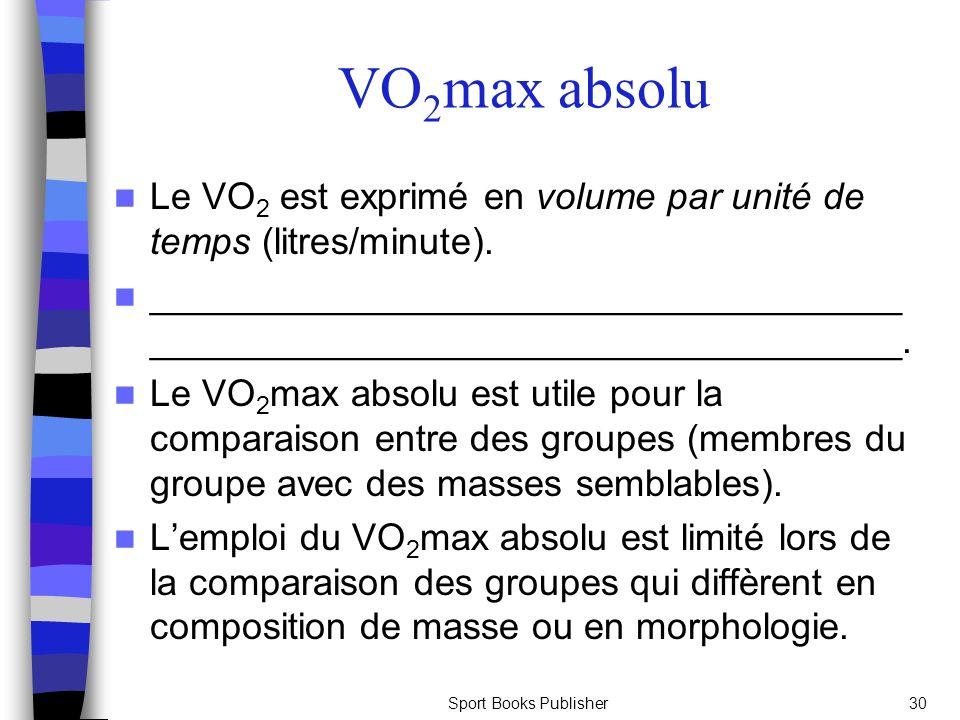 Sport Books Publisher30 V O 2 max absolu Le VO 2 est exprimé en volume par unité de temps (litres/minute).