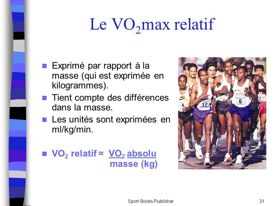 Sport Books Publisher31 Le V O 2 max relatif Exprimé par rapport à la masse (qui est exprimée en kilogrammes). Tient compte des différences dans la ma