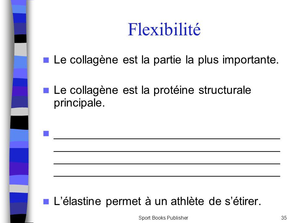 Sport Books Publisher35 Flexibilité Le collagène est la partie la plus importante. Le collagène est la protéine structurale principale. ______________