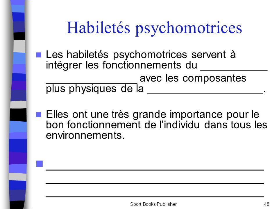 Sport Books Publisher48 Habiletés psychomotrices Les habiletés psychomotrices servent à intégrer les fonctionnements du ___________ _______________ av