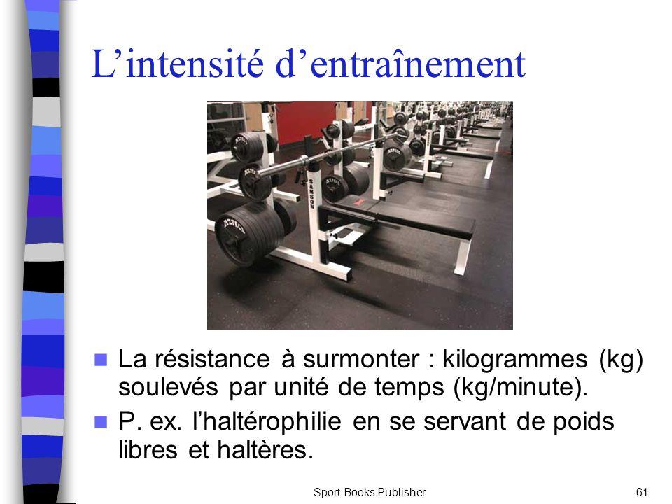 Sport Books Publisher61 La résistance à surmonter : kilogrammes (kg) soulevés par unité de temps (kg/minute).