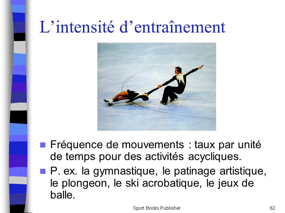 Sport Books Publisher62 Lintensité dentraînement Fréquence de mouvements : taux par unité de temps pour des activités acycliques. P. ex. la gymnastiqu