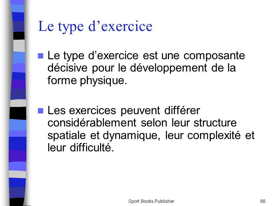 Sport Books Publisher68 Le type dexercice Le type dexercice est une composante décisive pour le développement de la forme physique. Les exercices peuv