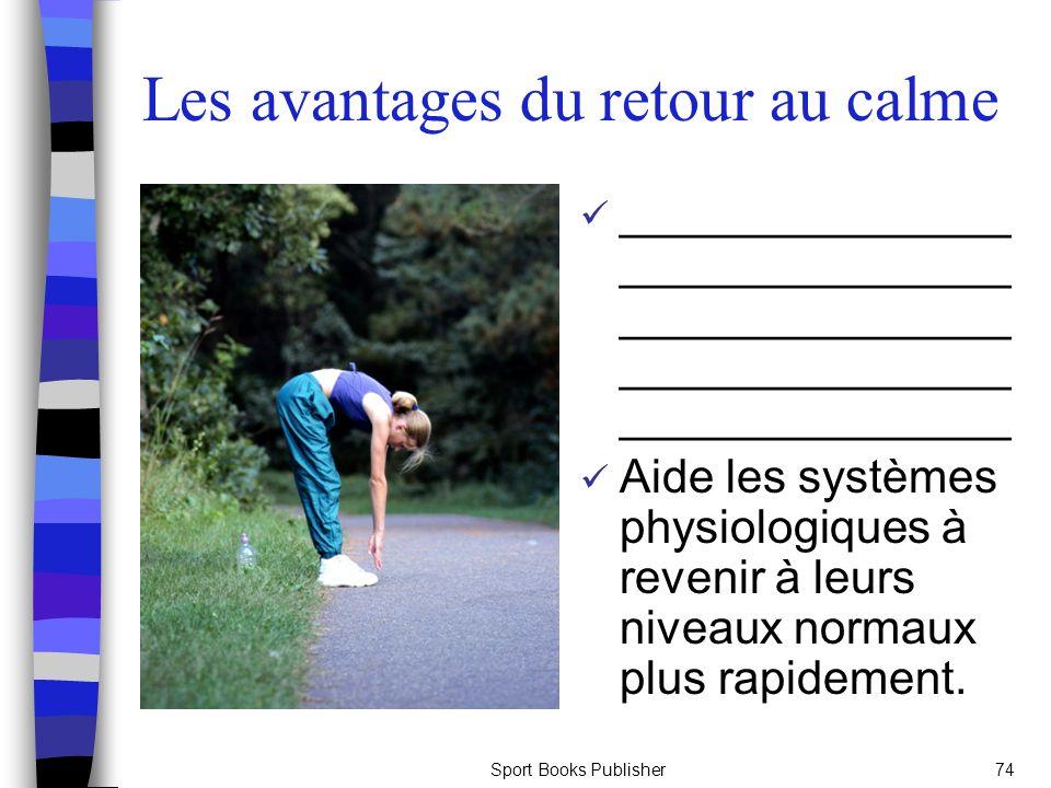 Sport Books Publisher74 Les avantages du retour au calme _______________ _______________ _______________ _______________ _______________ Aide les systèmes physiologiques à revenir à leurs niveaux normaux plus rapidement.