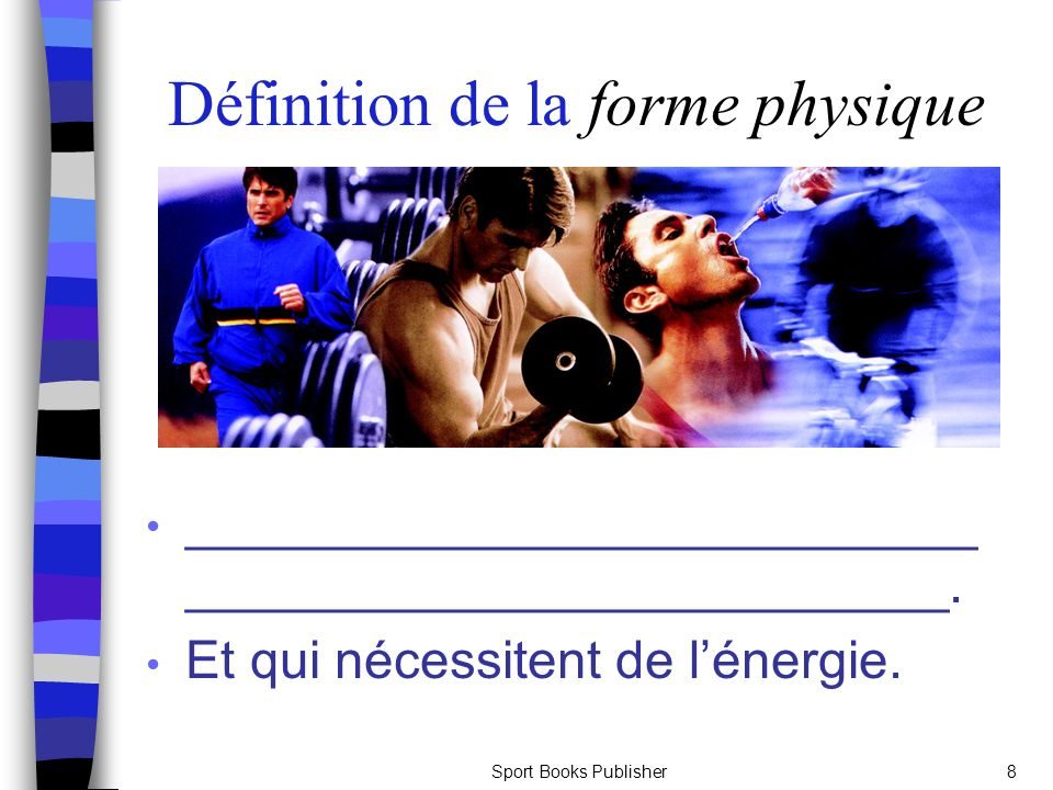 Sport Books Publisher19 Lendurance musculaire _____________________: Contractions soutenues Compromet la circulation du sang: ce qui engendre une accumulation de sous- produits métaboliques et la fatigue ______________________: Contractions et relaxations rythmiques continues Permet un approvisionnement continu doxygène et lexpulsion des sous-produits métaboliques