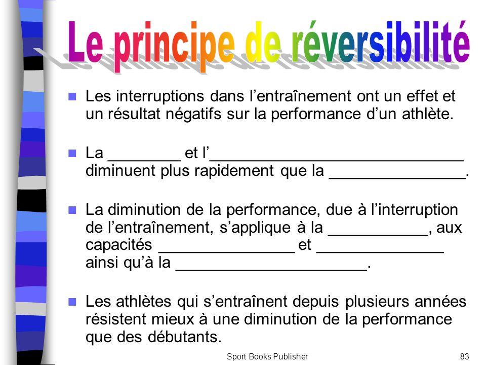 Sport Books Publisher83 Les interruptions dans lentraînement ont un effet et un résultat négatifs sur la performance dun athlète.