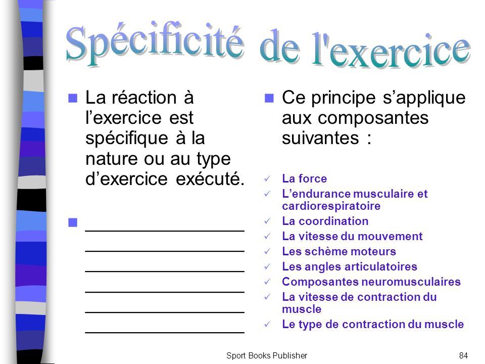 Sport Books Publisher84 La réaction à lexercice est spécifique à la nature ou au type dexercice exécuté. _______________ _______________ _____________