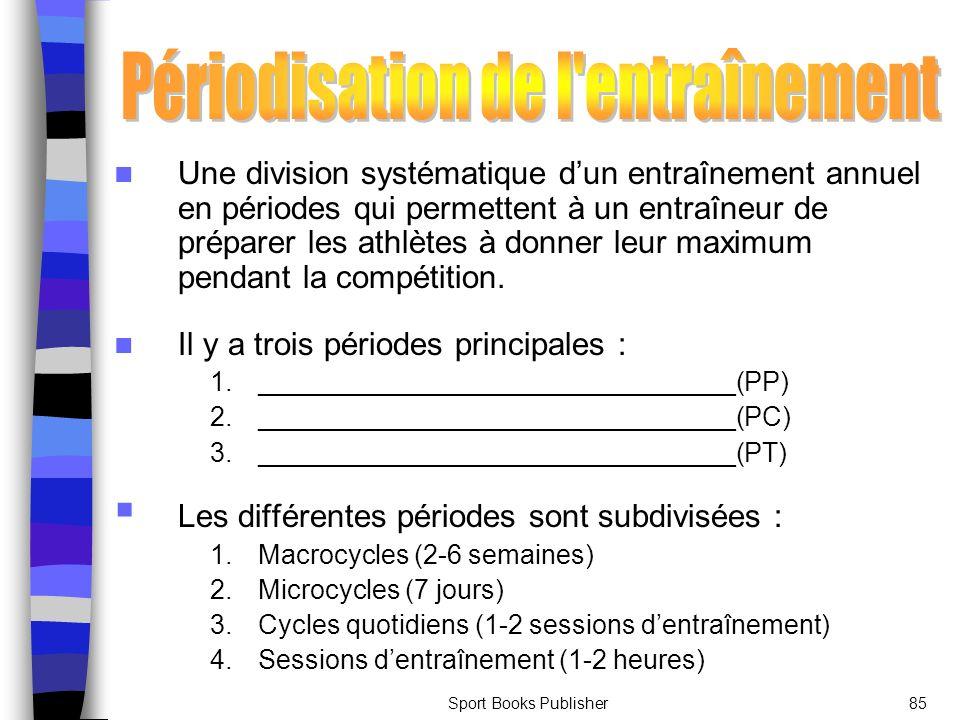 Sport Books Publisher85 Une division systématique dun entraînement annuel en périodes qui permettent à un entraîneur de préparer les athlètes à donner