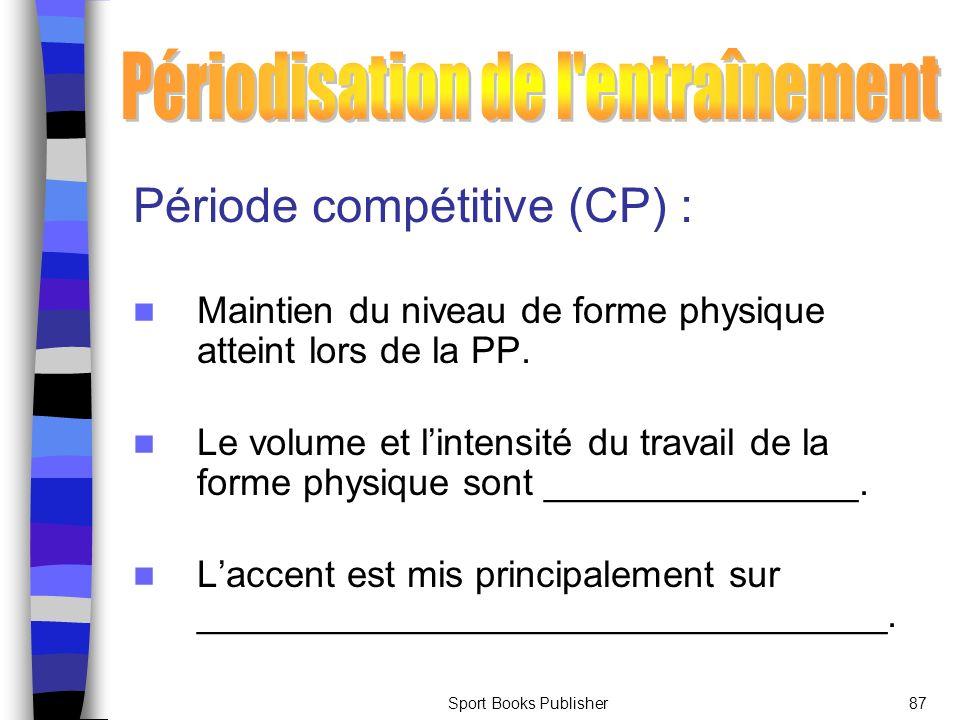 Sport Books Publisher87 Période compétitive (CP) : Maintien du niveau de forme physique atteint lors de la PP. Le volume et lintensité du travail de l