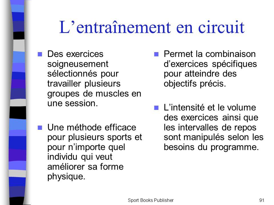 Sport Books Publisher91 Lentraînement en circuit Des exercices soigneusement sélectionnés pour travailler plusieurs groupes de muscles en une session.