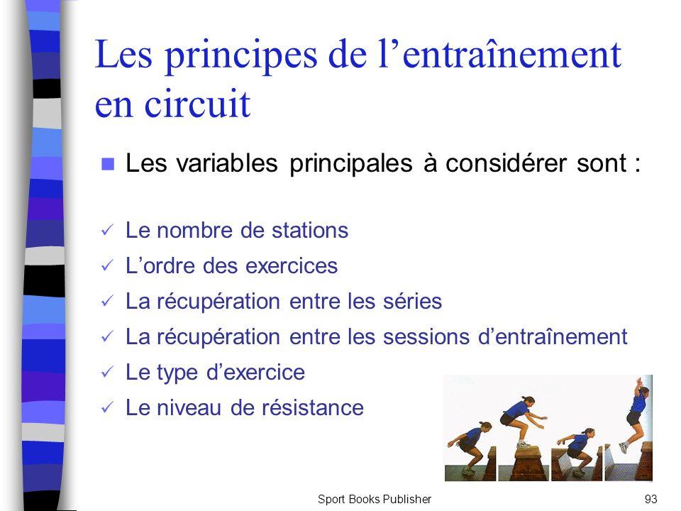 Sport Books Publisher93 Les principes de lentraînement en circuit Les variables principales à considérer sont : Le nombre de stations Lordre des exerc