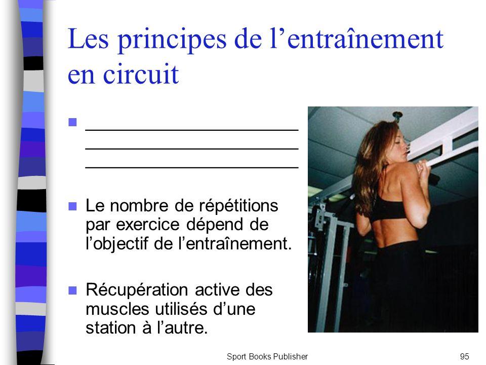 Sport Books Publisher95 Les principes de lentraînement en circuit ______________________ ______________________ ______________________ Le nombre de répétitions par exercice dépend de lobjectif de lentraînement.