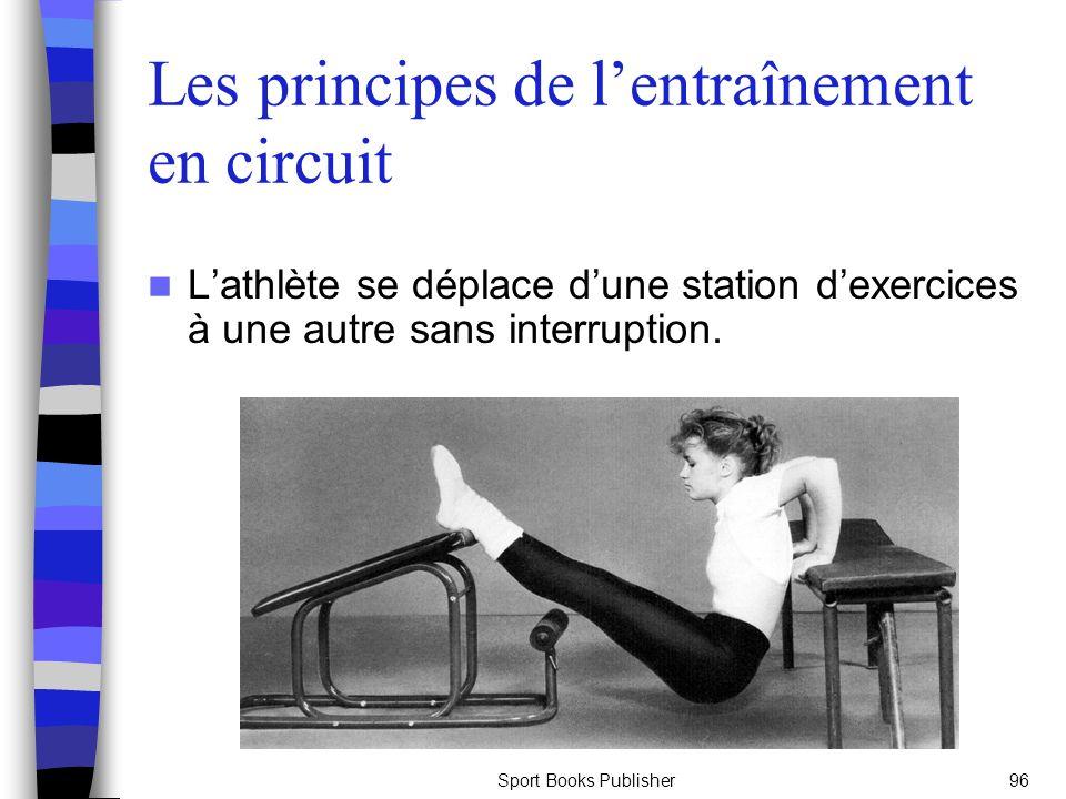 Sport Books Publisher96 Les principes de lentraînement en circuit Lathlète se déplace dune station dexercices à une autre sans interruption.