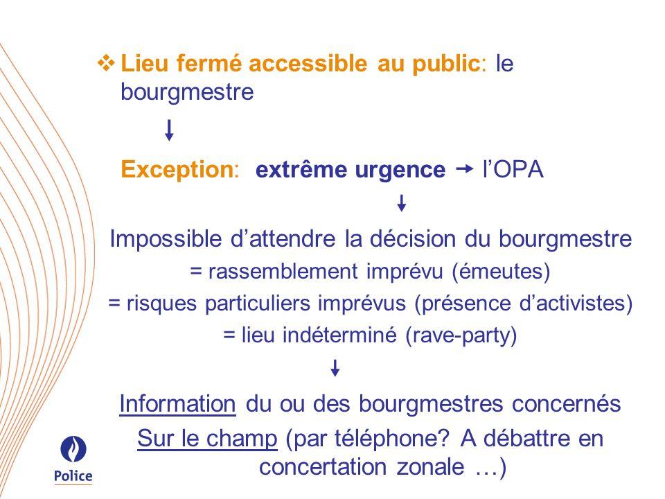Lieu fermé accessible au public: le bourgmestre Exception: extrême urgence lOPA Impossible dattendre la décision du bourgmestre = rassemblement imprév