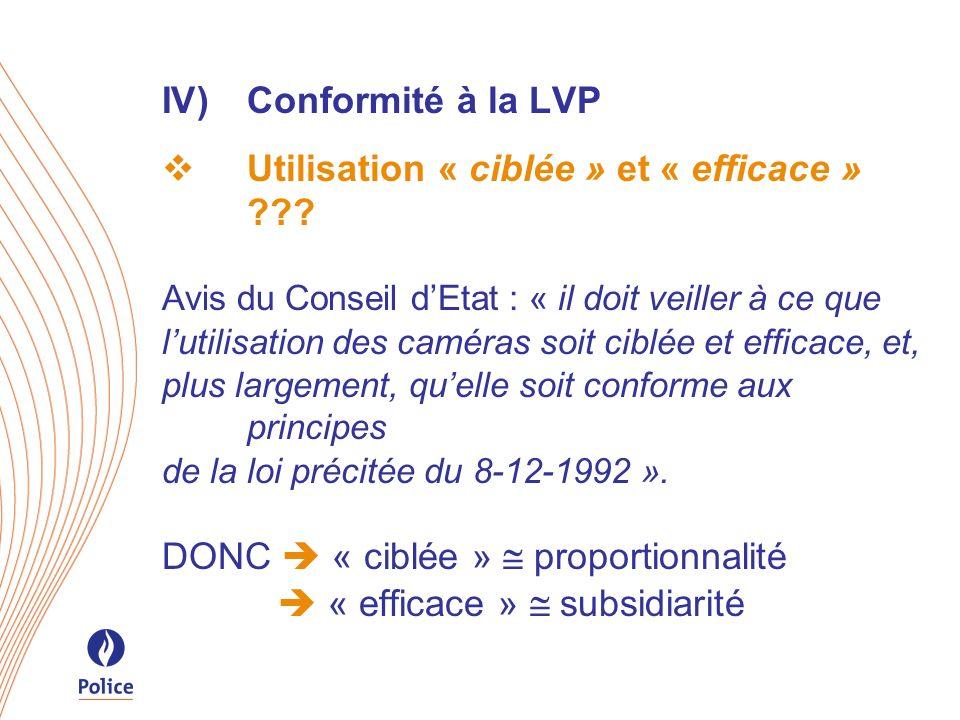IV)Conformité à la LVP Utilisation « ciblée » et « efficace » ??? Avis du Conseil dEtat : « il doit veiller à ce que lutilisation des caméras soit cib