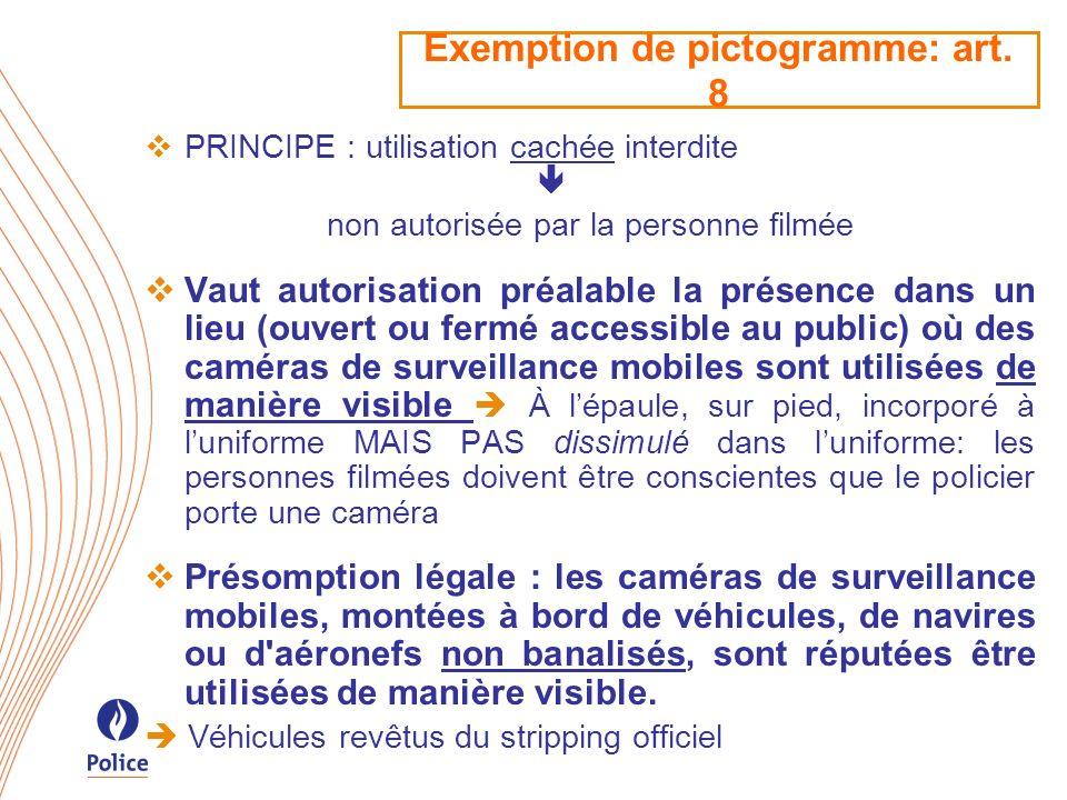 Exemption de pictogramme: art. 8 PRINCIPE : utilisation cachée interdite non autorisée par la personne filmée Vaut autorisation préalable la présence