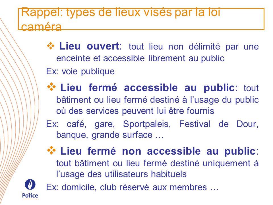 Rappel: types de lieux visés par la loi caméra Lieu ouvert: tout lieu non délimité par une enceinte et accessible librement au public Ex: voie publiqu