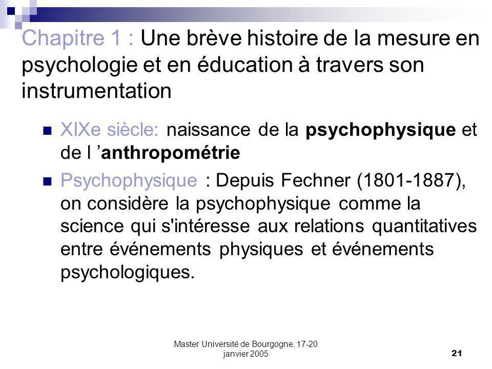 Master Université de Bourgogne, 17-20 janvier 200521 Chapitre 1 : Une brève histoire de la mesure en psychologie et en éducation à travers son instrum