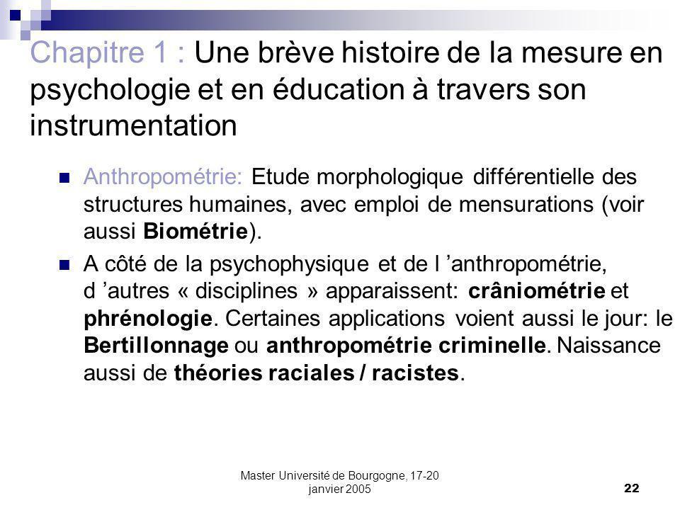 Master Université de Bourgogne, 17-20 janvier 200522 Chapitre 1 : Une brève histoire de la mesure en psychologie et en éducation à travers son instrum
