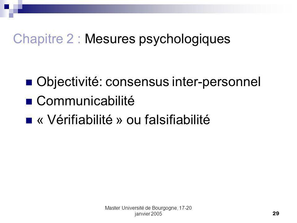 Master Université de Bourgogne, 17-20 janvier 200529 Chapitre 2 : Mesures psychologiques Objectivité: consensus inter-personnel Communicabilité « Vérifiabilité » ou falsifiabilité
