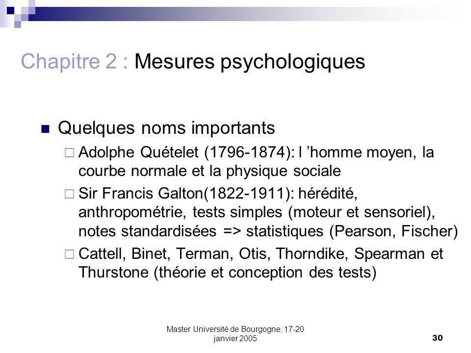 Master Université de Bourgogne, 17-20 janvier 200530 Chapitre 2 : Mesures psychologiques Quelques noms importants Adolphe Quételet (1796-1874): l homm