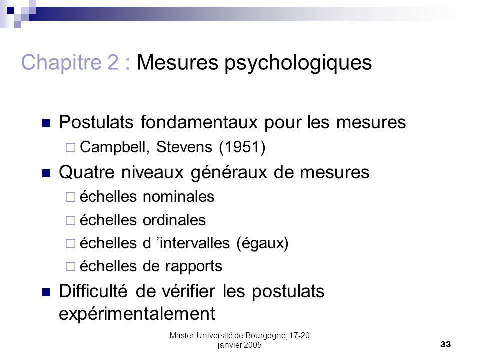 Master Université de Bourgogne, 17-20 janvier 200533 Chapitre 2 : Mesures psychologiques Postulats fondamentaux pour les mesures Campbell, Stevens (1951) Quatre niveaux généraux de mesures échelles nominales échelles ordinales échelles d intervalles (égaux) échelles de rapports Difficulté de vérifier les postulats expérimentalement