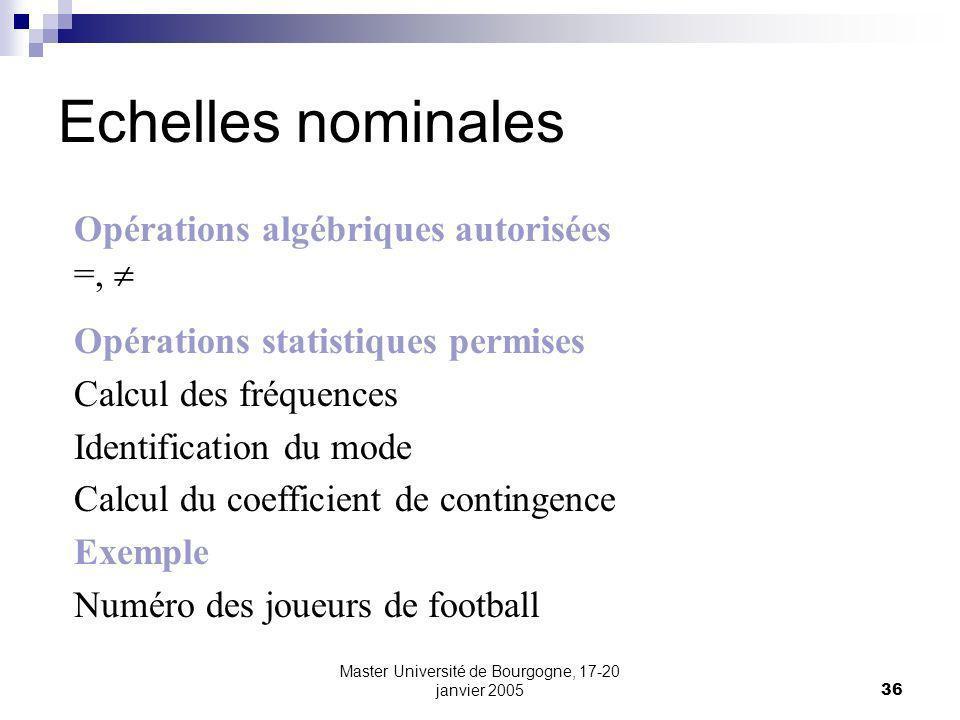 Master Université de Bourgogne, 17-20 janvier 200536 Echelles nominales Opérations algébriques autorisées =, Opérations statistiques permises Calcul d