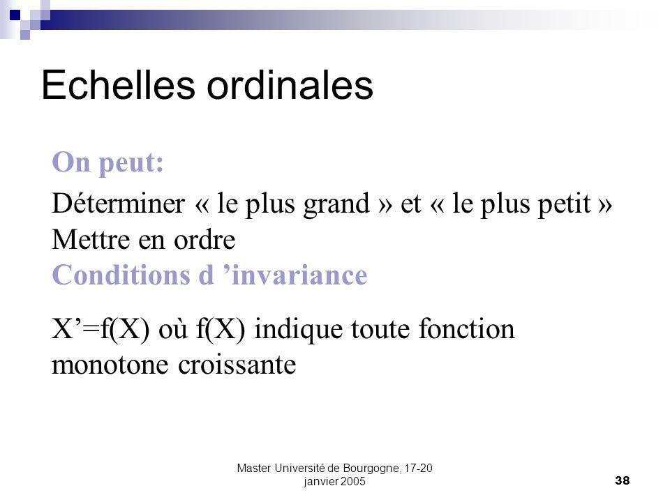 Master Université de Bourgogne, 17-20 janvier 200538 Echelles ordinales On peut: Déterminer « le plus grand » et « le plus petit » Mettre en ordre Conditions d invariance X=f(X) où f(X) indique toute fonction monotone croissante