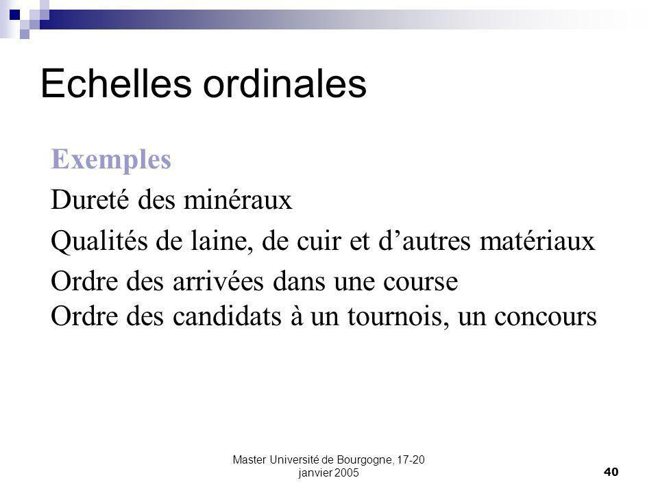 Master Université de Bourgogne, 17-20 janvier 200540 Echelles ordinales Exemples Dureté des minéraux Qualités de laine, de cuir et dautres matériaux O