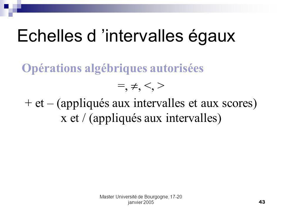 Master Université de Bourgogne, 17-20 janvier 200543 Echelles d intervalles égaux Opérations algébriques autorisées =,, + et – (appliqués aux interval