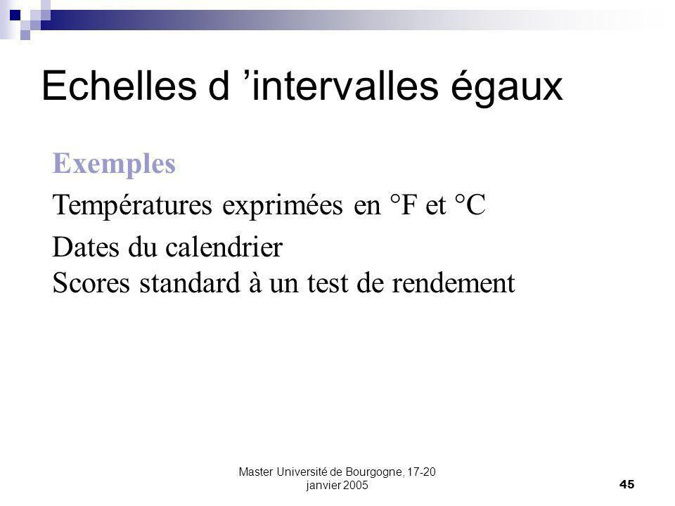 Master Université de Bourgogne, 17-20 janvier 200545 Echelles d intervalles égaux Exemples Températures exprimées en °F et °C Dates du calendrier Scores standard à un test de rendement