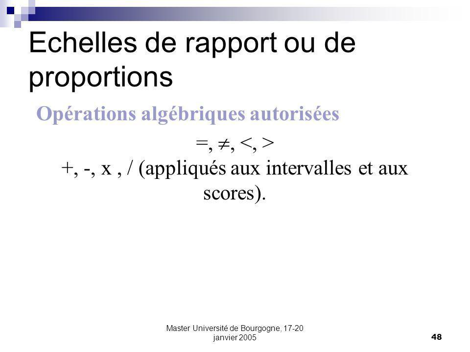 Master Université de Bourgogne, 17-20 janvier 200548 Echelles de rapport ou de proportions Opérations algébriques autorisées =,, +, -, x, / (appliqués aux intervalles et aux scores).