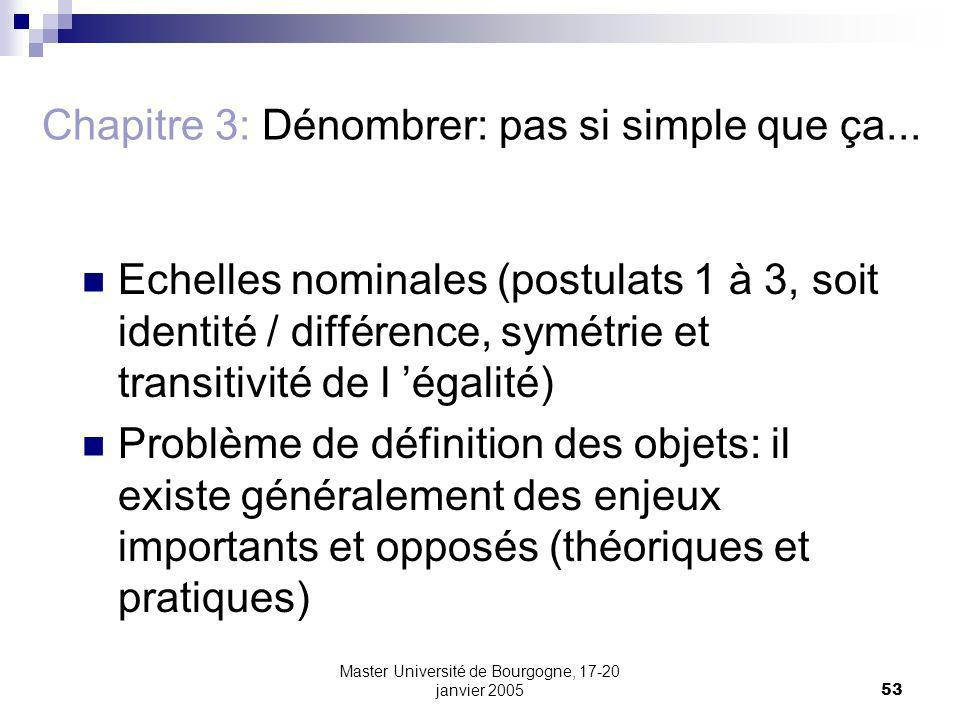 Master Université de Bourgogne, 17-20 janvier 200553 Chapitre 3: Dénombrer: pas si simple que ça... Echelles nominales (postulats 1 à 3, soit identité