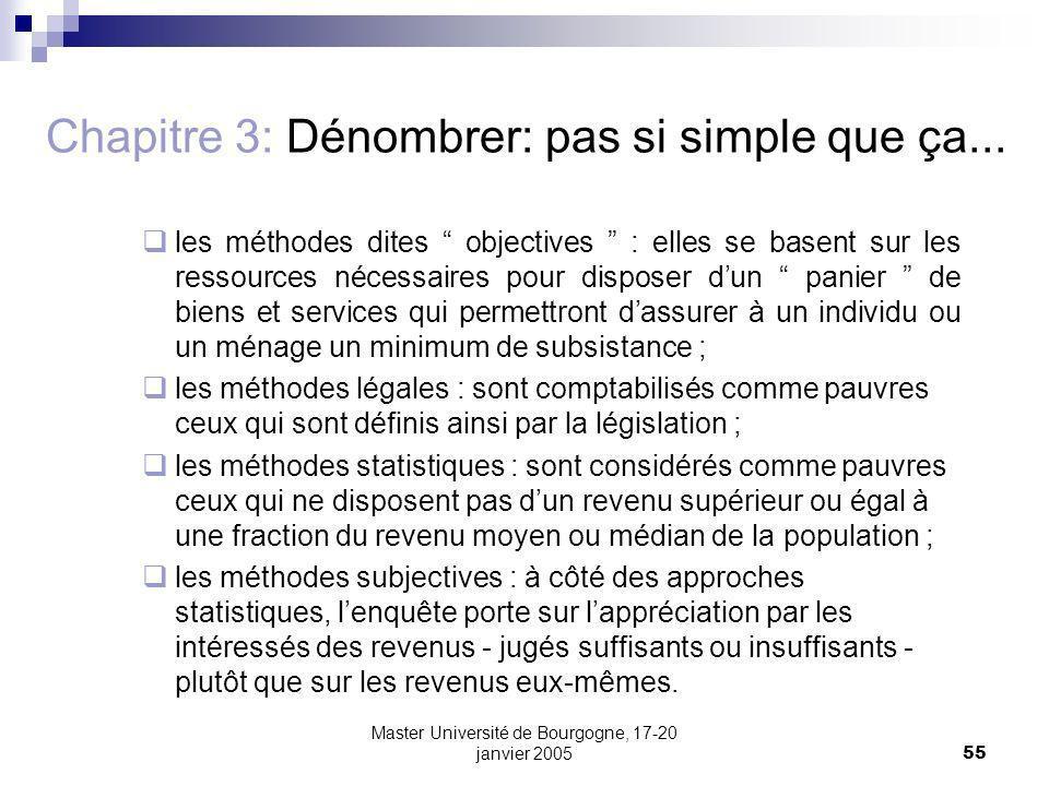 Master Université de Bourgogne, 17-20 janvier 200555 Chapitre 3: Dénombrer: pas si simple que ça... les méthodes dites objectives : elles se basent su