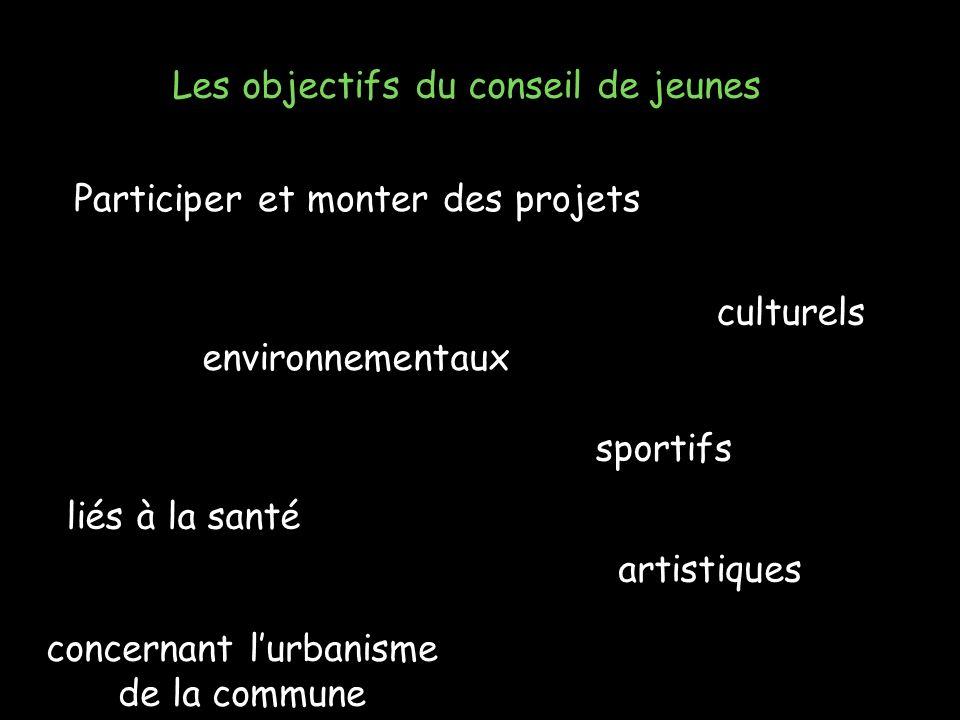 Les objectifs du conseil de jeunes Participer et monter des projets culturels environnementaux sportifs liés à la santé artistiques concernant lurbanisme de la commune