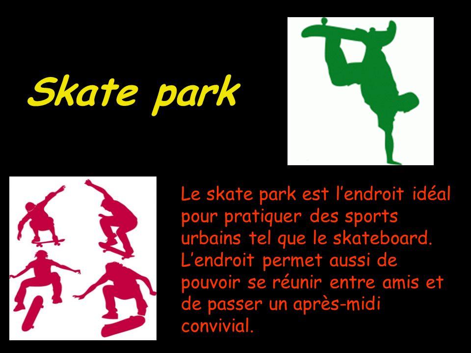 Le skate park est lendroit idéal pour pratiquer des sports urbains tel que le skateboard.