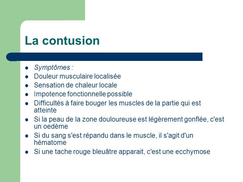 Symptômes : Douleur musculaire localisée Sensation de chaleur locale Impotence fonctionnelle possible Difficultés à faire bouger les muscles de la par
