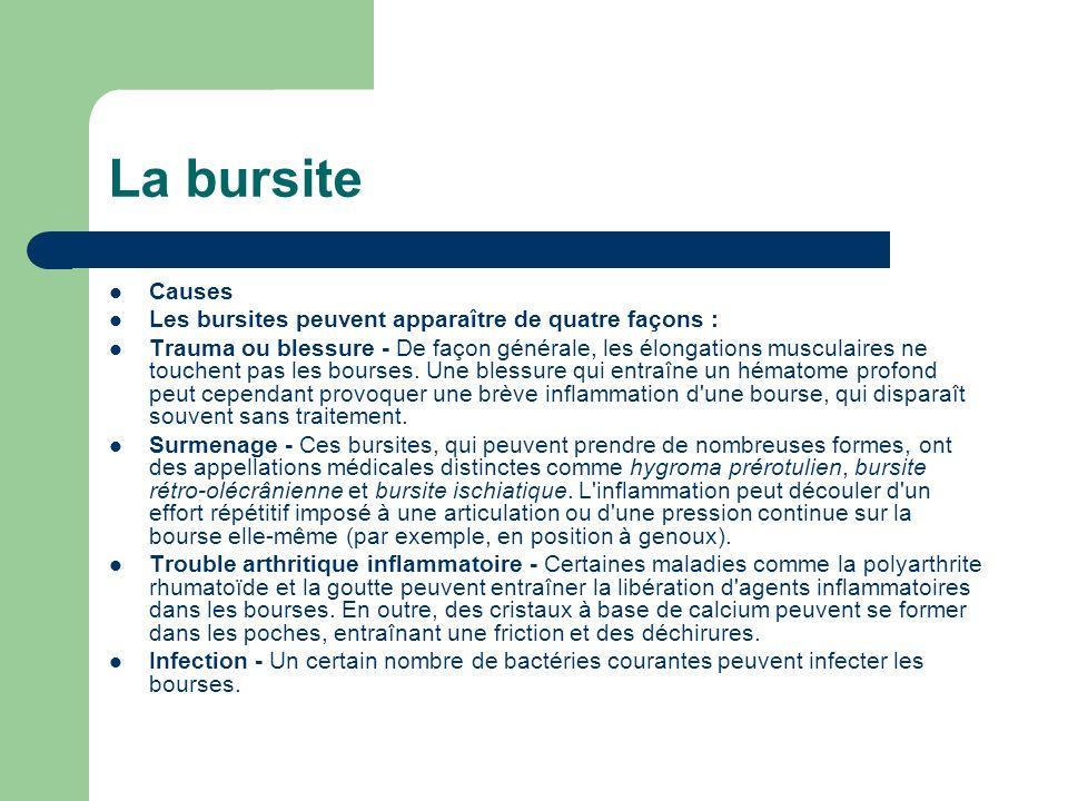 La bursite Causes Les bursites peuvent apparaître de quatre façons : Trauma ou blessure - De façon générale, les élongations musculaires ne touchent p
