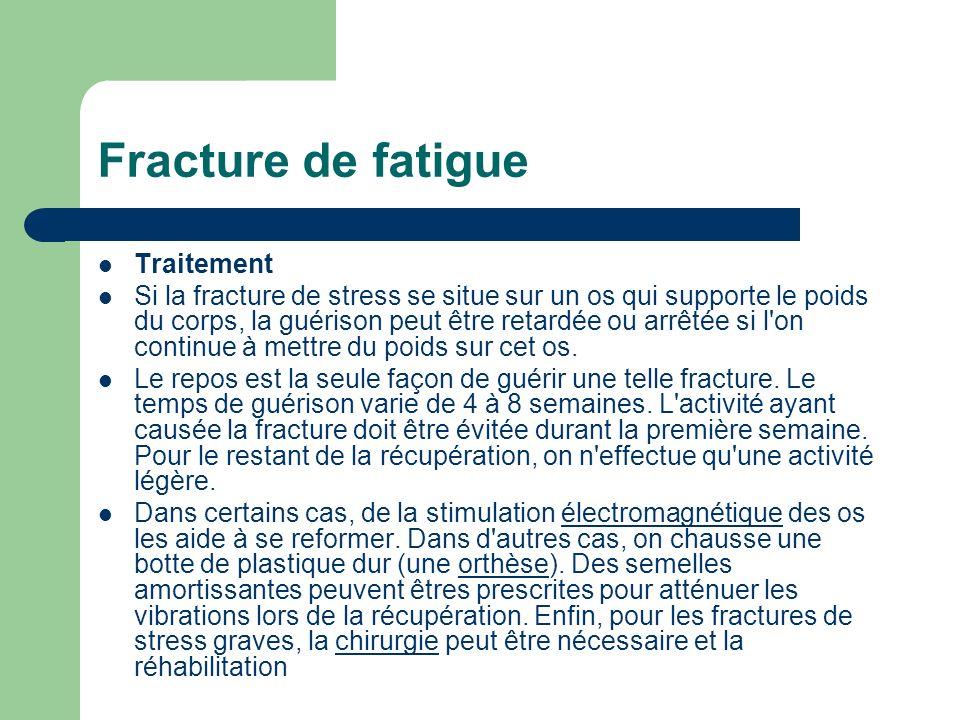 Fracture de fatigue Traitement Si la fracture de stress se situe sur un os qui supporte le poids du corps, la guérison peut être retardée ou arrêtée s