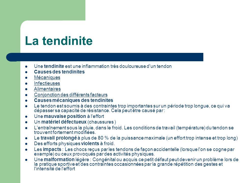 Une tendinite est une inflammation très douloureuse d'un tendon Causes des tendinites Mécaniques Infectieuses Alimentaires Conjonction des différents