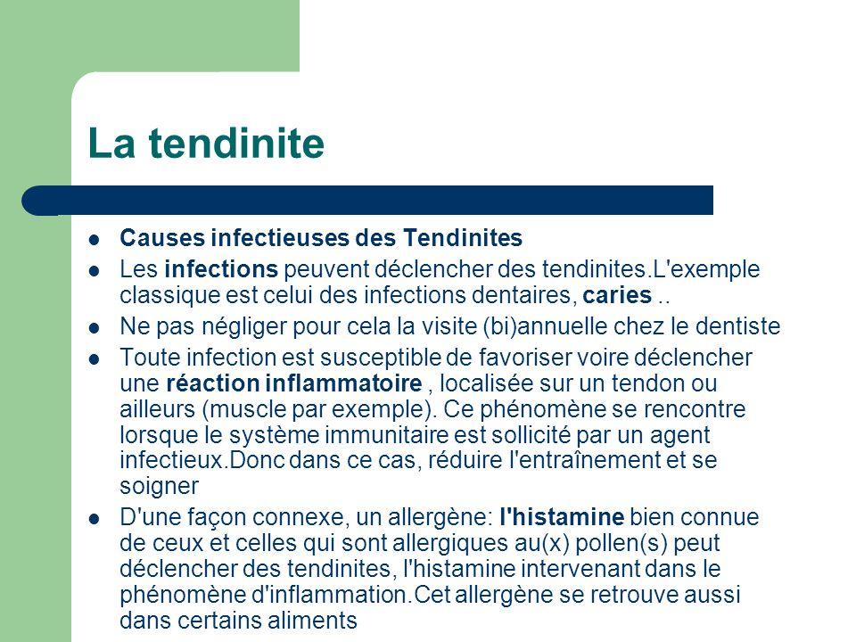 La tendinite Causes infectieuses des Tendinites Les infections peuvent déclencher des tendinites.L'exemple classique est celui des infections dentaire