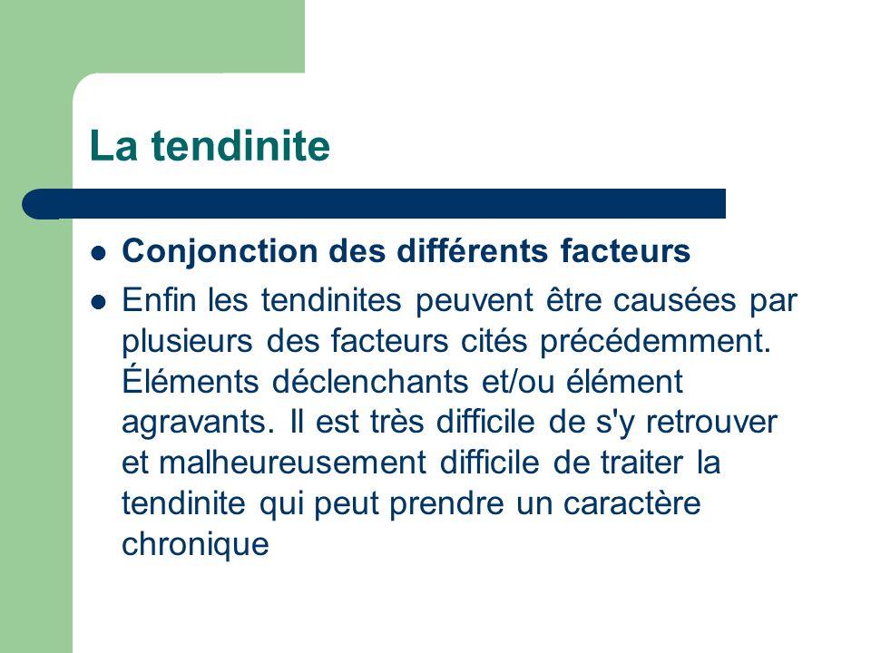 La tendinite Conjonction des différents facteurs Enfin les tendinites peuvent être causées par plusieurs des facteurs cités précédemment. Éléments déc