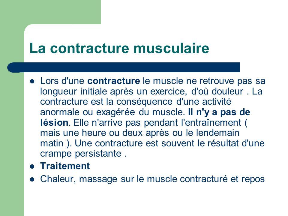 Lors d'une contracture le muscle ne retrouve pas sa longueur initiale après un exercice, d'où douleur. La contracture est la conséquence d'une activit
