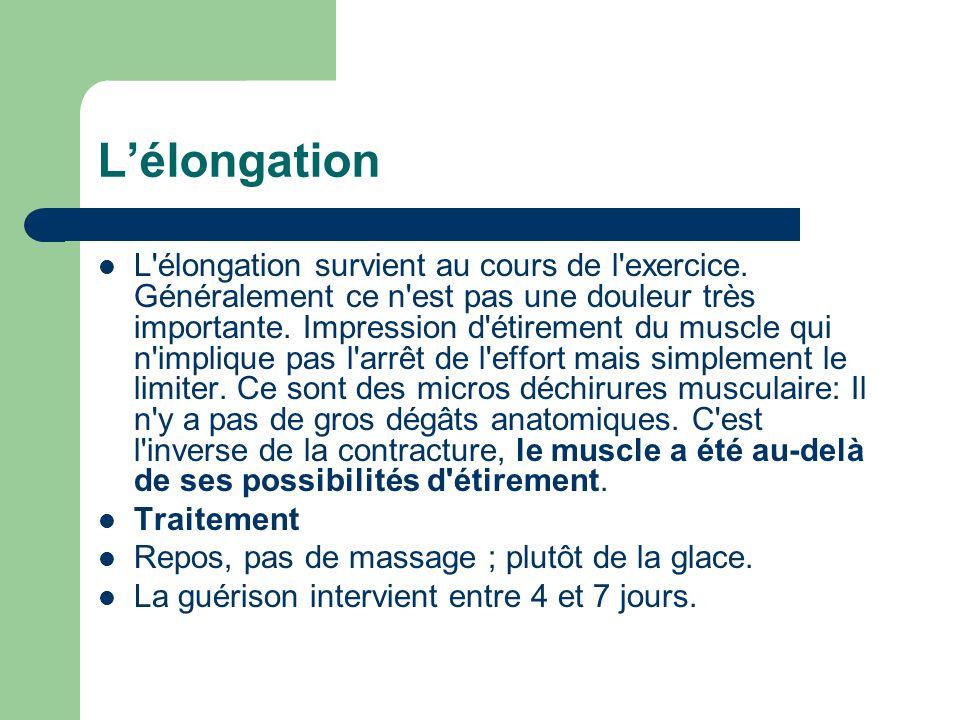 Lélongation L'élongation survient au cours de l'exercice. Généralement ce n'est pas une douleur très importante. Impression d'étirement du muscle qui