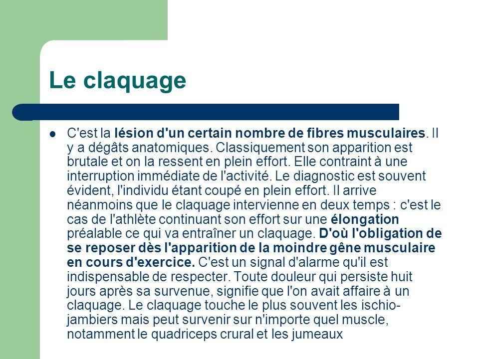 Le claquage C'est la lésion d'un certain nombre de fibres musculaires. Il y a dégâts anatomiques. Classiquement son apparition est brutale et on la re