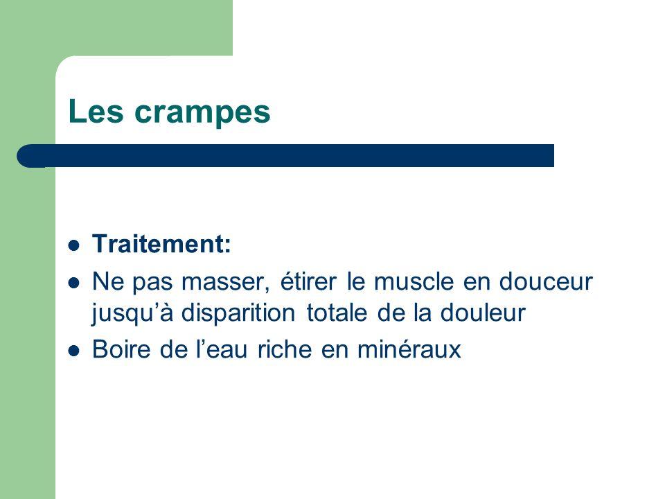 Les crampes Traitement: Ne pas masser, étirer le muscle en douceur jusquà disparition totale de la douleur Boire de leau riche en minéraux