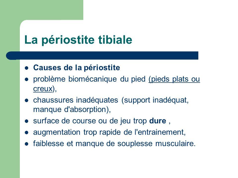 Causes de la périostite problème biomécanique du pied (pieds plats ou creux),(pieds plats ou creux chaussures inadéquates (support inadéquat, manque d
