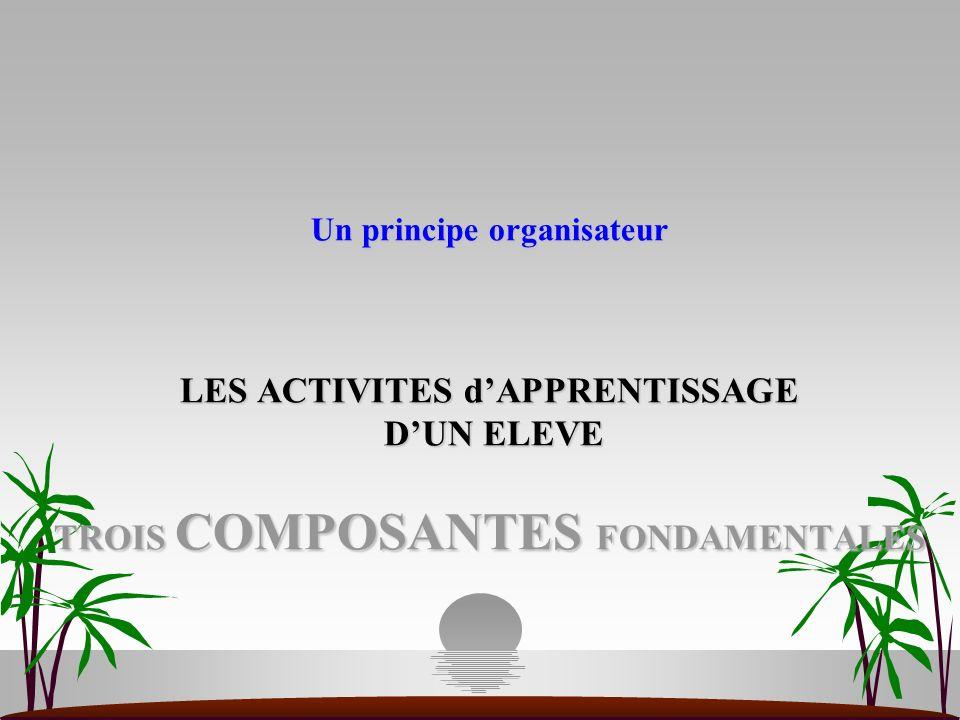Un principe organisateur LES ACTIVITES dAPPRENTISSAGE DUN ELEVE TROIS COMPOSANTES FONDAMENTALES Un principe organisateur LES ACTIVITES dAPPRENTISSAGE